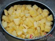 Die geschälten und geschnittenen Äpfel in einen Topf geben