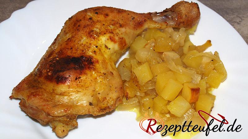 Curry Hähnchenschenkel Aus Dem Bratschlauch Rezept Inklusive Beilage