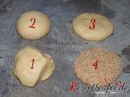 Brötchen formen (1. Teigstück - 2. Kugel - 3. flachgedrückte Kugel - 4. mit Sesam)
