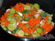 Das geschnittene Gemüse wird in der Pfannegeschort