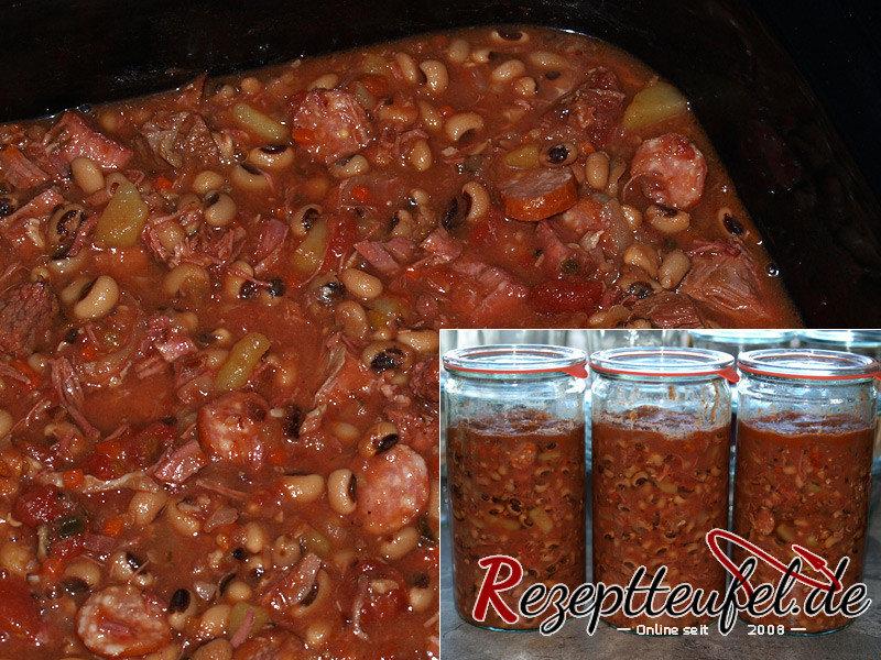 Rezept - Schwarzaugenbohnen-Eintopf aus dem Slow Cooker eingekocht